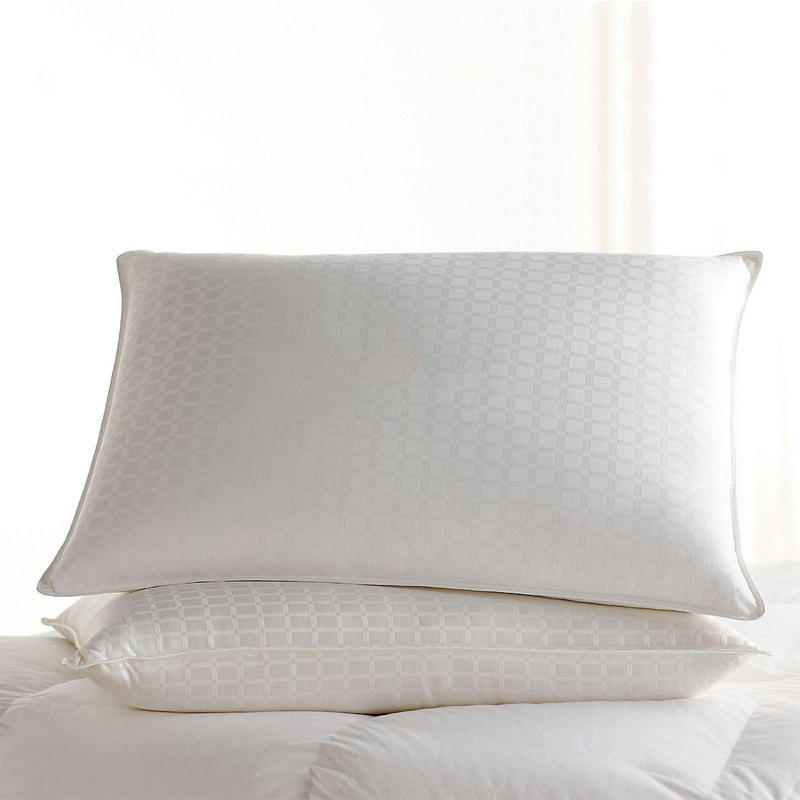 90% White Goose Down Pillows With 1'' Windowpane Pattern