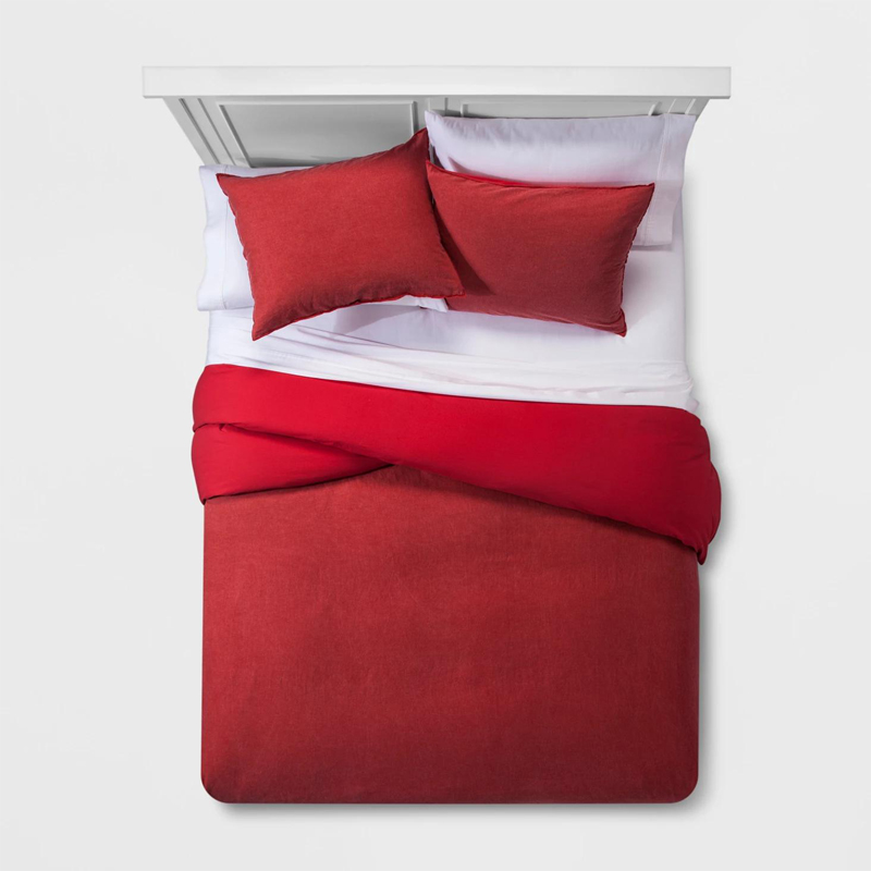 Solid Color Washable Cotton Bedlinen Duvet Cover Set